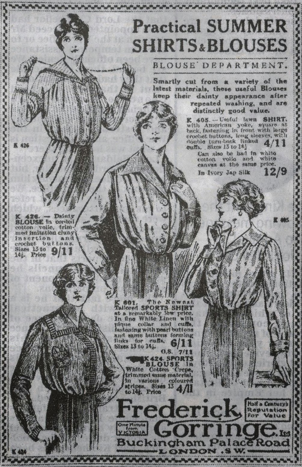 1914 advert for women's clothes