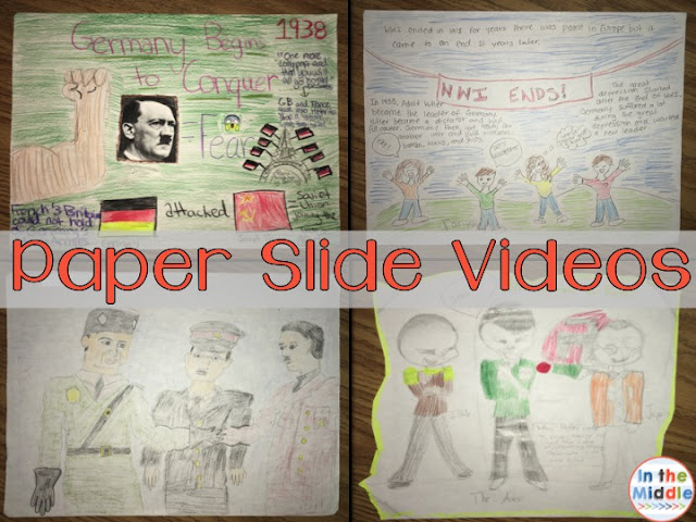 Paper Slide Videos- In the Middle, middle grades social studies