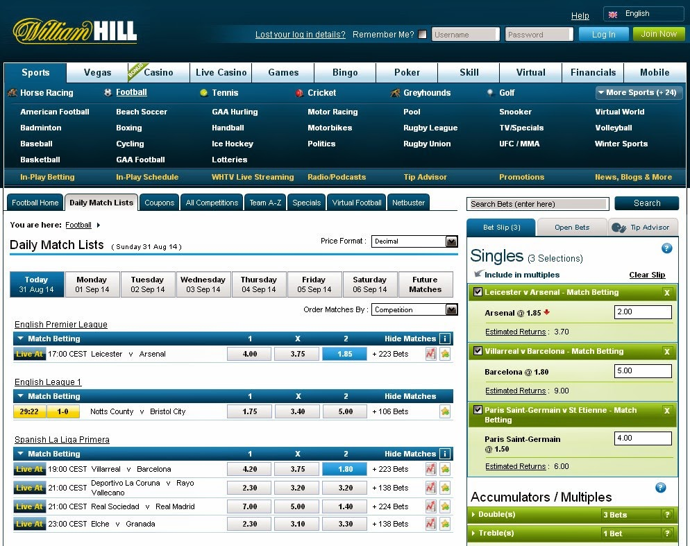 William Hill Daily Match List Screen