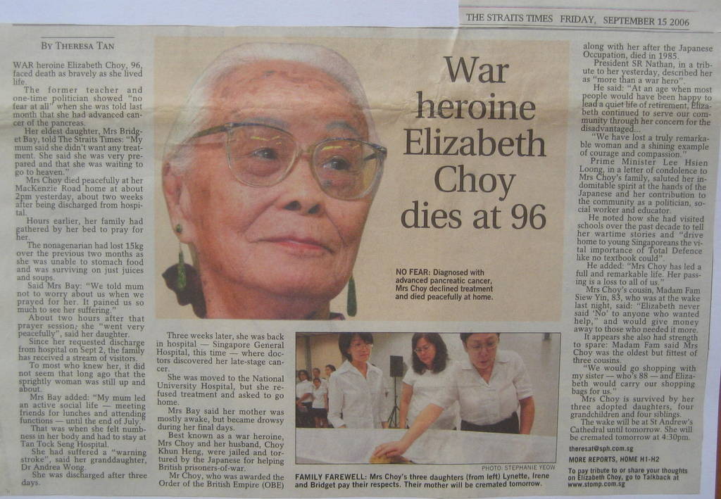 elizabeth choy a singaporean hero Xiang yun is one of the leading and very popular singaporean actress who is a contracted in 1997 she played the role of elizabeth choy infamous war drama named.