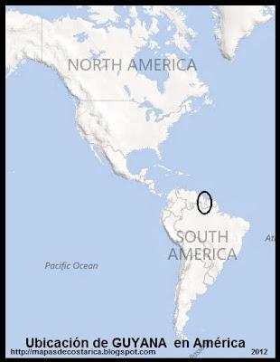 Ubicación de GUYANA en América, BING