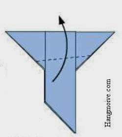 Tạo một đường chéo giống như hình vẽ để tạo thành cánh chim bồ câu.