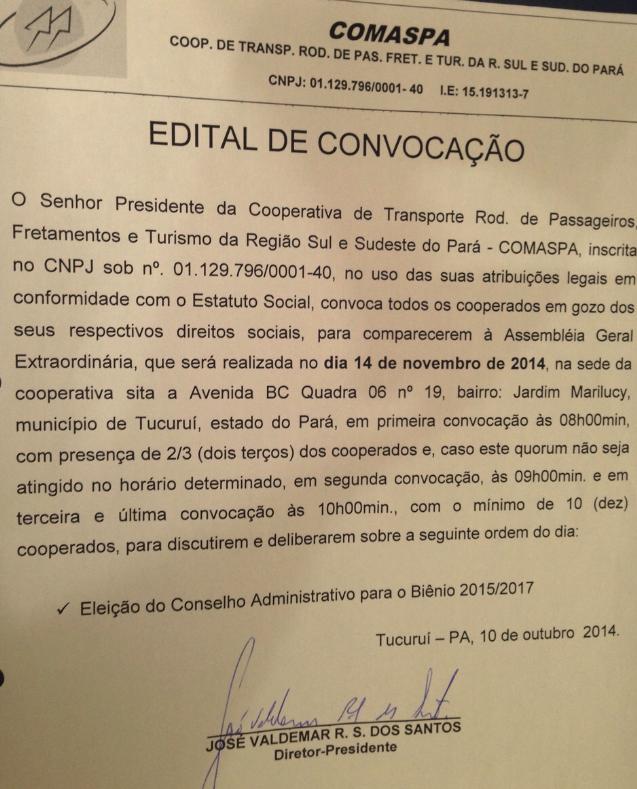 EDITAL DE CONVOCAÇÃO COMASPA