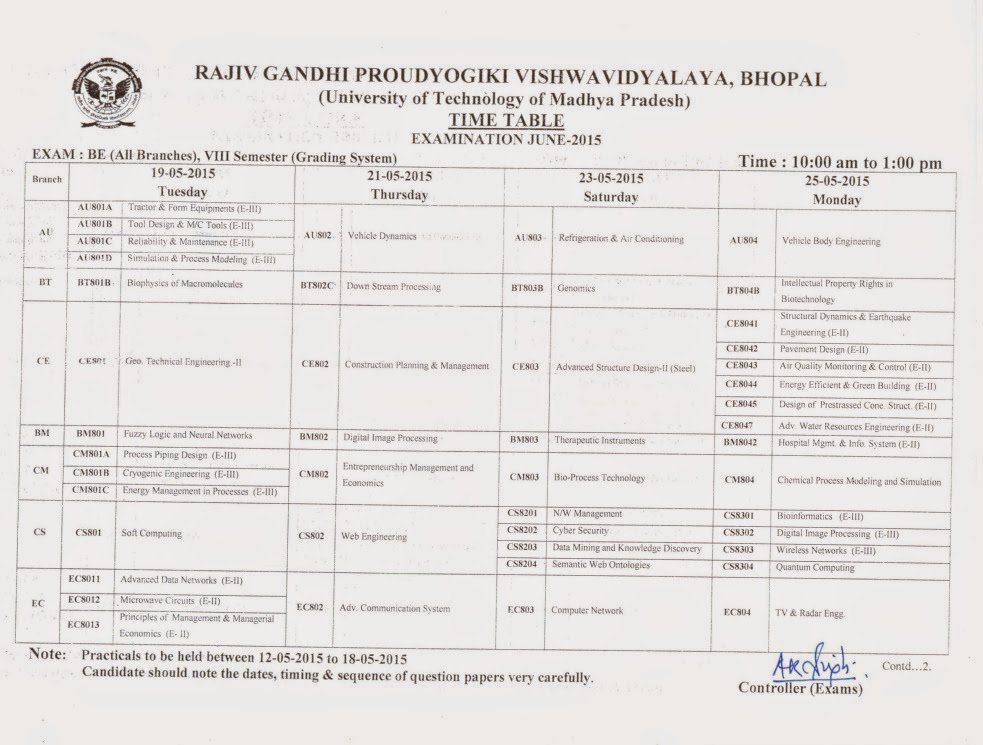 rgpv b e 8th sem examination time table