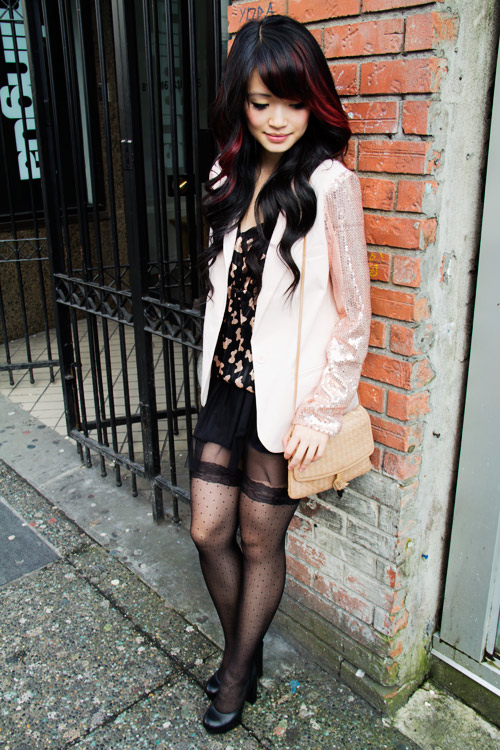 Forever21 light pink sequince sleeve blacer, numph top from J2, black tutu from Gentille Alouette, Garder tights from stand in Metro town, Le Chateau chunky platform pumps, vintage bottega venetta beige woven purse, granville street vancouver, spring colours, curly hair