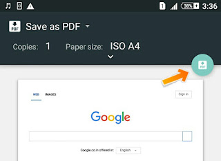 Click Save Icon to Save webpage as PDF File