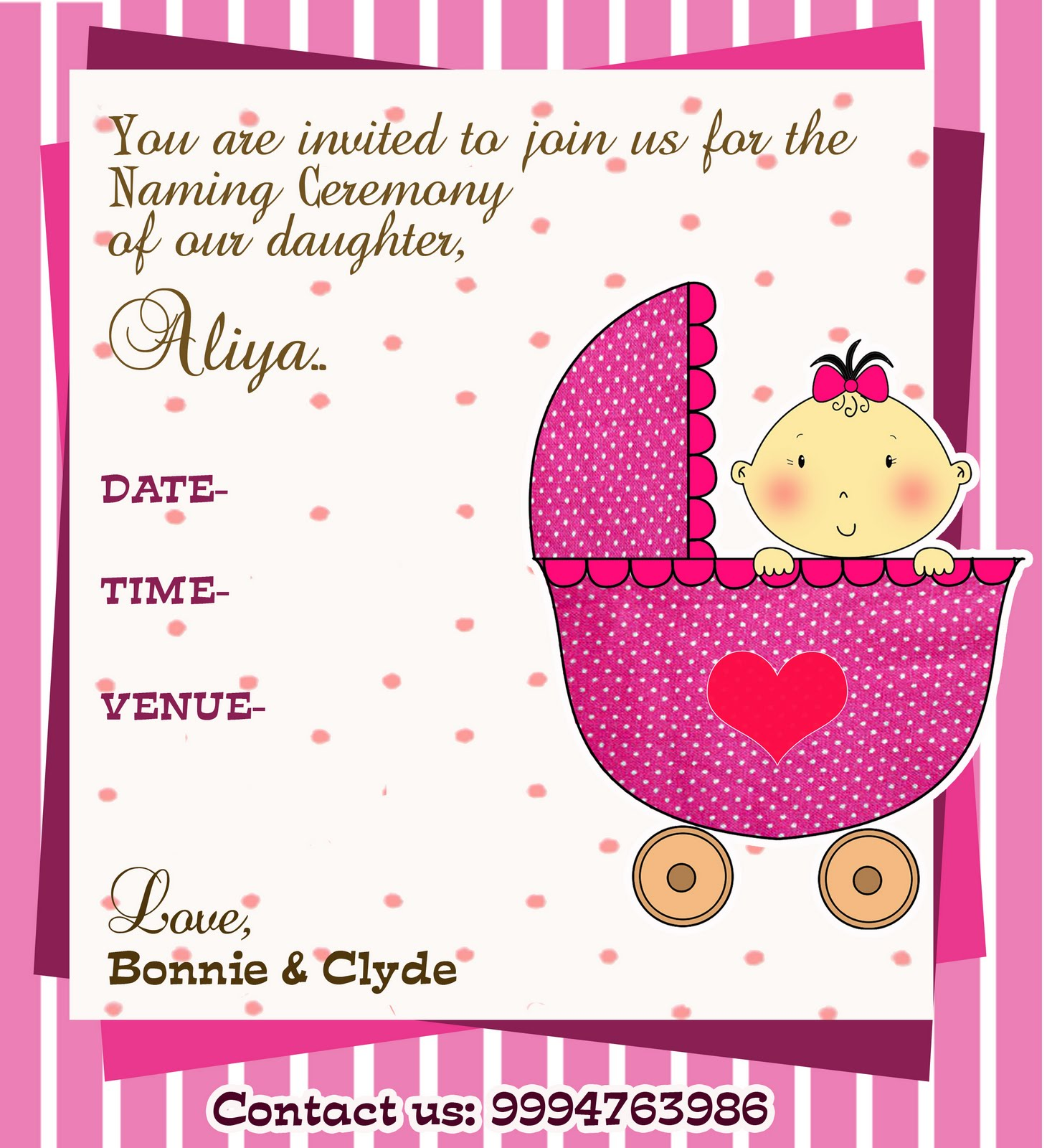 A Naming Ceremony Invite Designed For A Friend