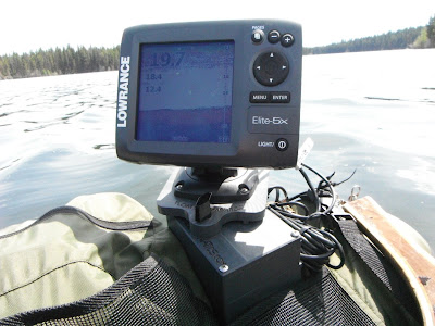 Lowrance Elite 5x on belly boat and Float Tube Fanatics Mount