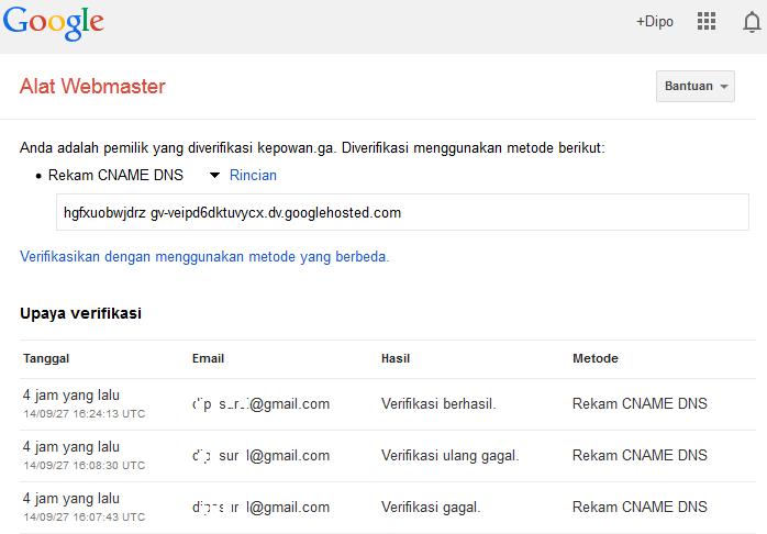 Kepowan-PerlukahMemverifikasiKepemilikanSitusWebBlog0.png | Melihat kenyataan banyak orang menggunakan Google untuk menelusuri internet maka sebaiknya para webmaster melakukan verifikasi melalui Google Alat Webmaster. Sedangkan untuk pengembangan lebih lanjut, para webmaster juga perlu melakukan verifikasi situs web/blog yang mereka kelola ke Bing Webmaster dan Yandex Webmaster. Untuk memverifikasi situs web/blog terhadap Google, Bing maupun Yandex dapat dilakukan dengan gratis dan tidak memakan waktu yang lama (tentunya tergantung dari kecepatan transfer data dari koneksi internet yang dipakai) serta mudah.