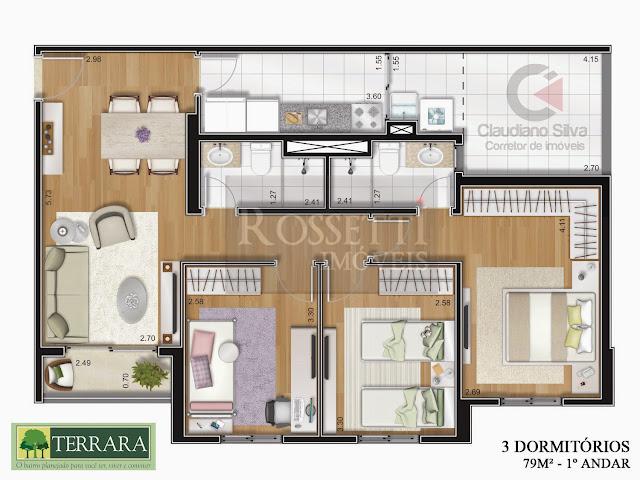 Apartamento Terrara com Quintal