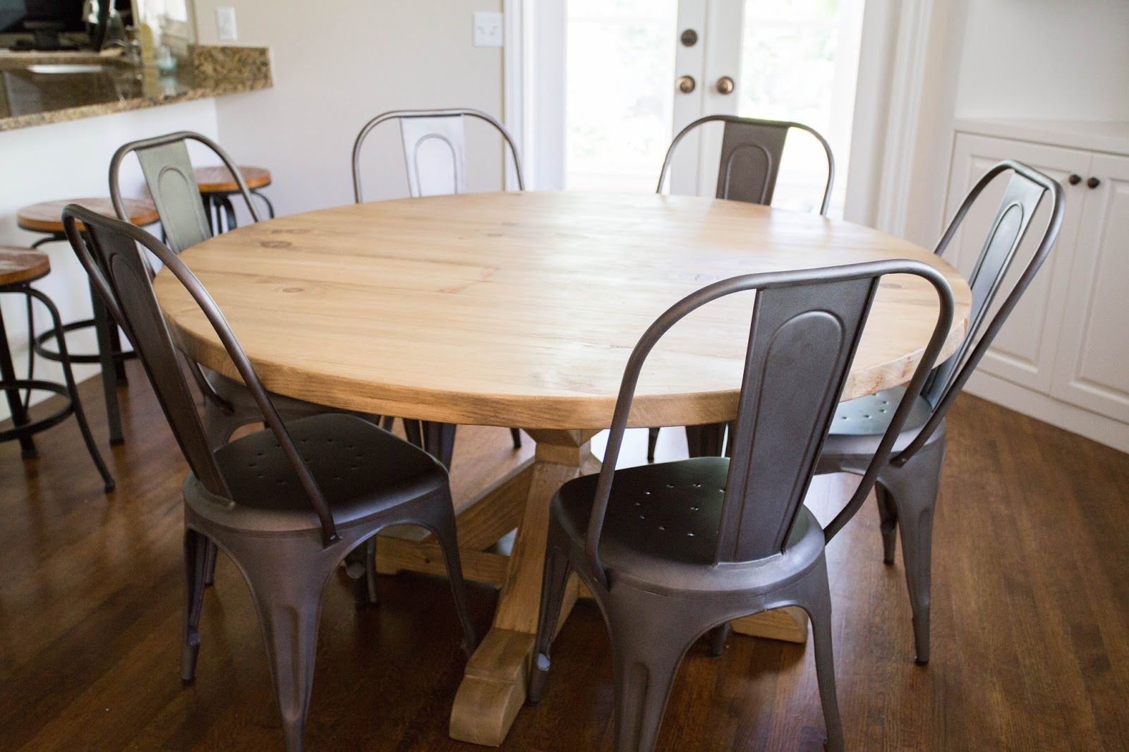Lovely DIY Round Restoration Hardware Table And Gray Wash Stain