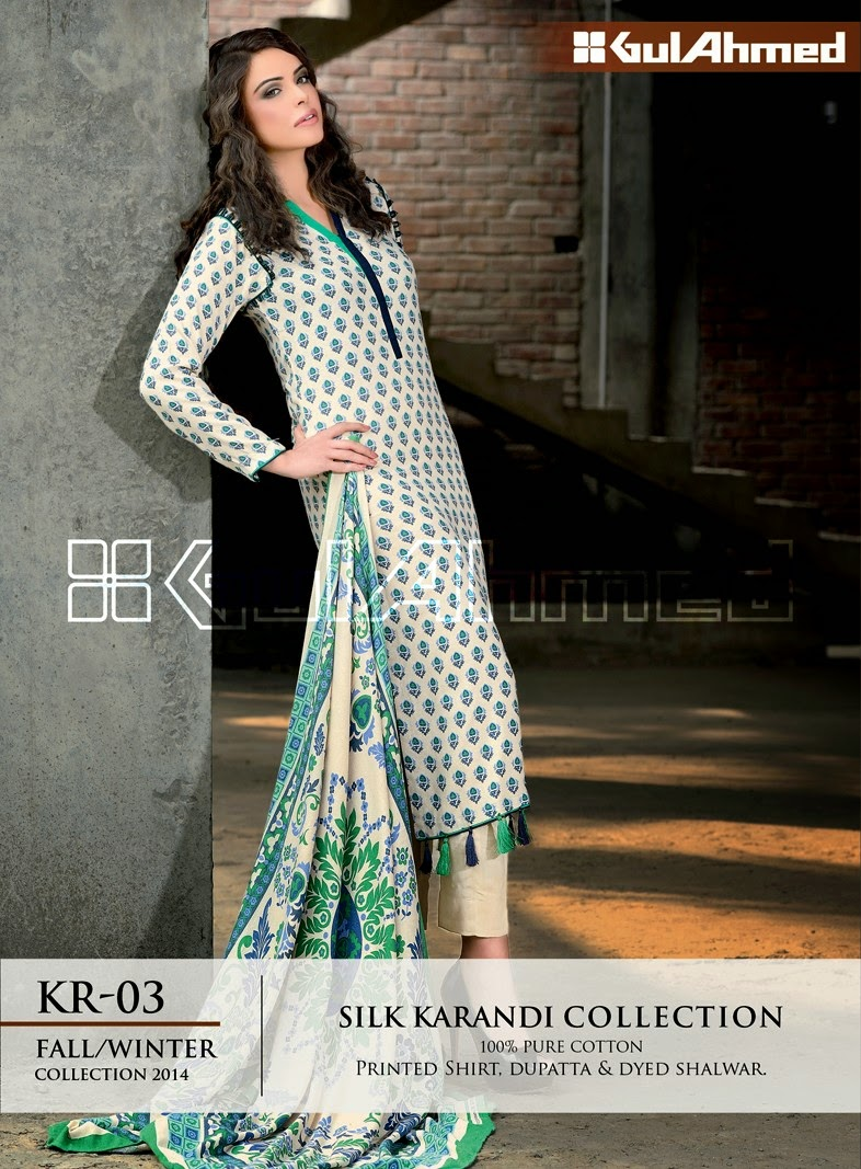 GulAhmed Fall/Winter 2014 Silk Karandi Collection - KR-03