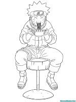 Mewarnai Halaman Naruto Makan Mie Ramen