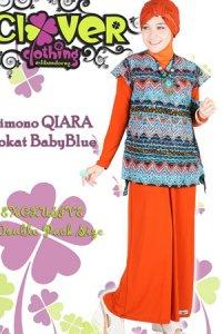 Clover Clothing Dress Kimono QIARA Brokat - Orange Baby Blue (Toko Jilbab dan Busana Muslimah Terbaru)
