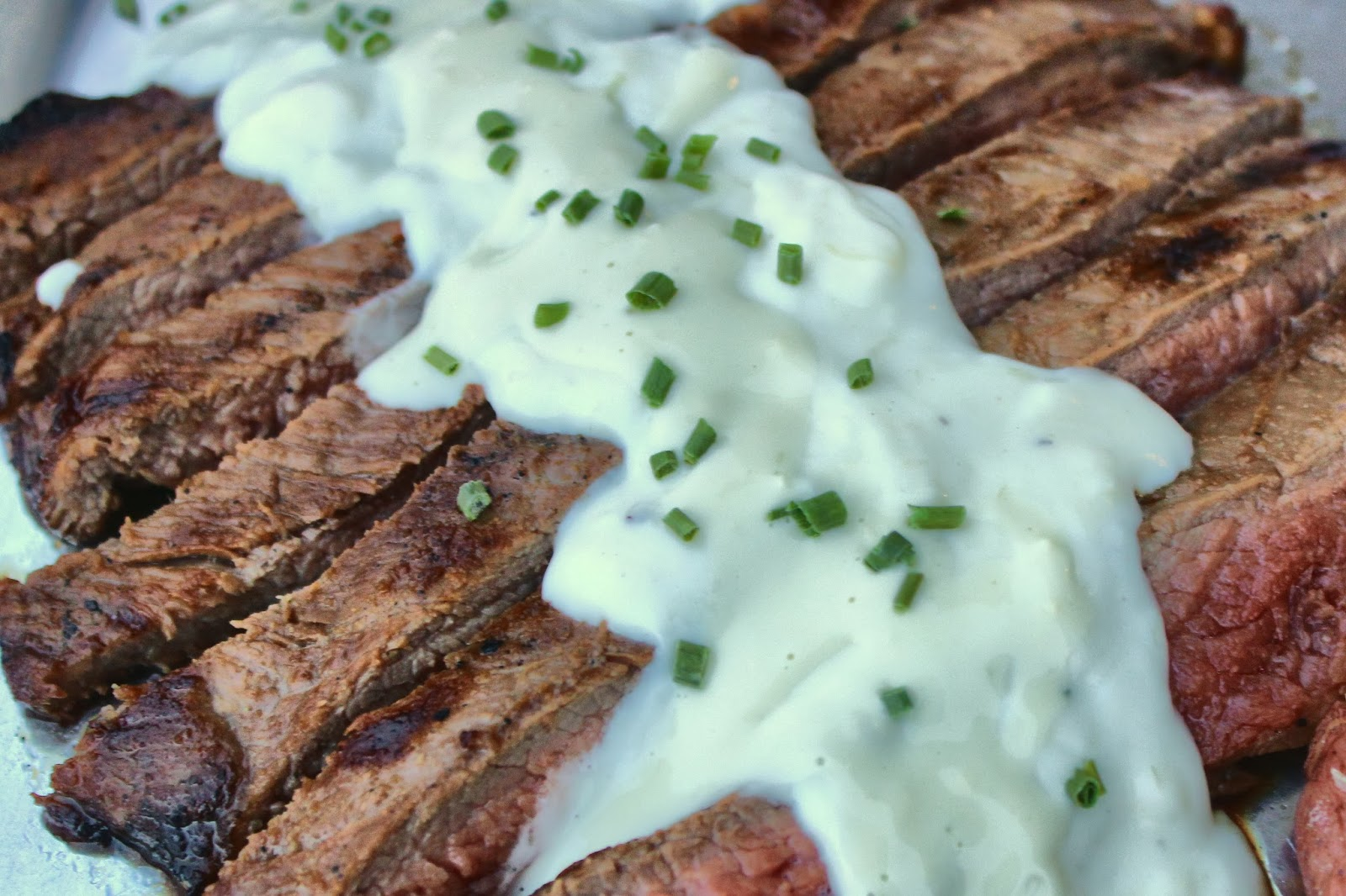 Deals to Meals: Marinated Flank Steak with Blue Cheese Cream Sauce