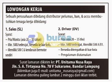 Lowongan Kerja Lampung, Selasa 26 Agustus 2014 PT. Unitama Nusa Raya