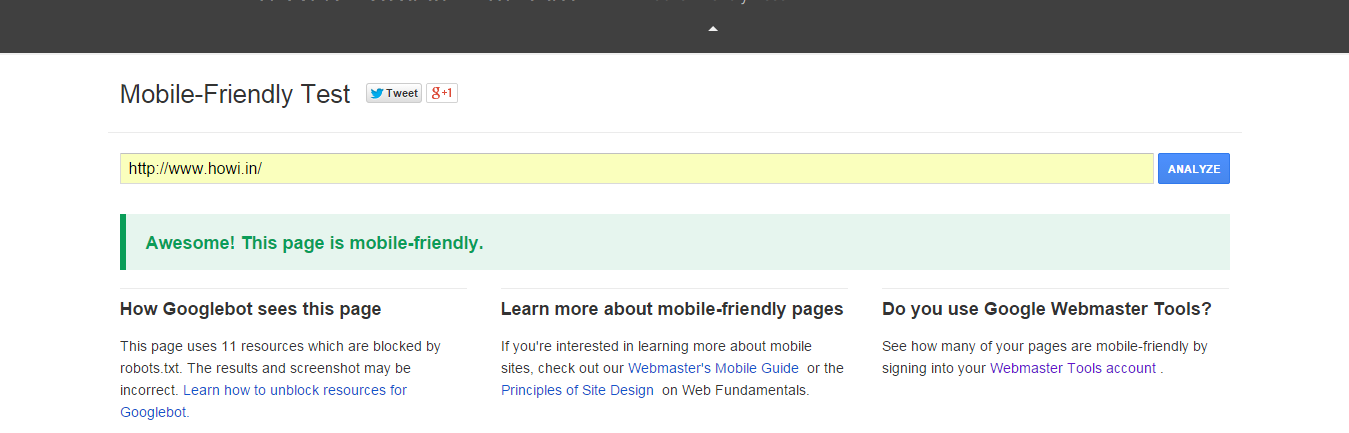 Google Mobile-Friendly Website Testing Tool