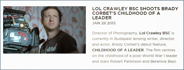 30 Enero - El Director de fotografía, Lol Crawley BSC se encuentra actualmente en Budapest con Brady Corbet (The Childhood of a Leader)!!! Director