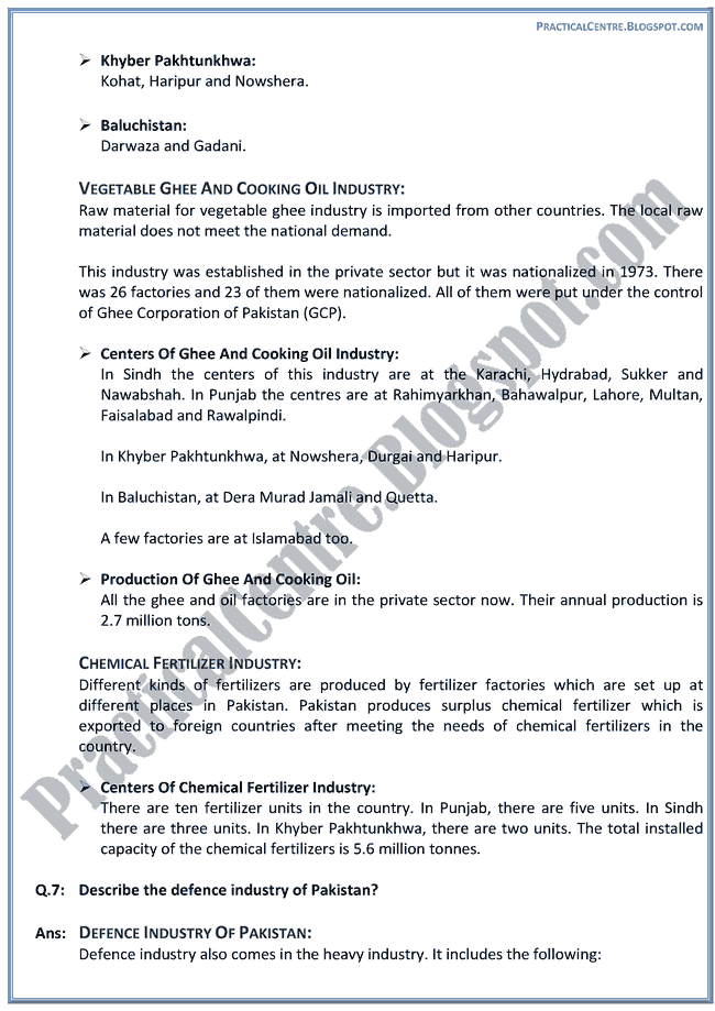 industrial-development-in-pakistan-descriptive-question-answers-pakistan-studies-9th