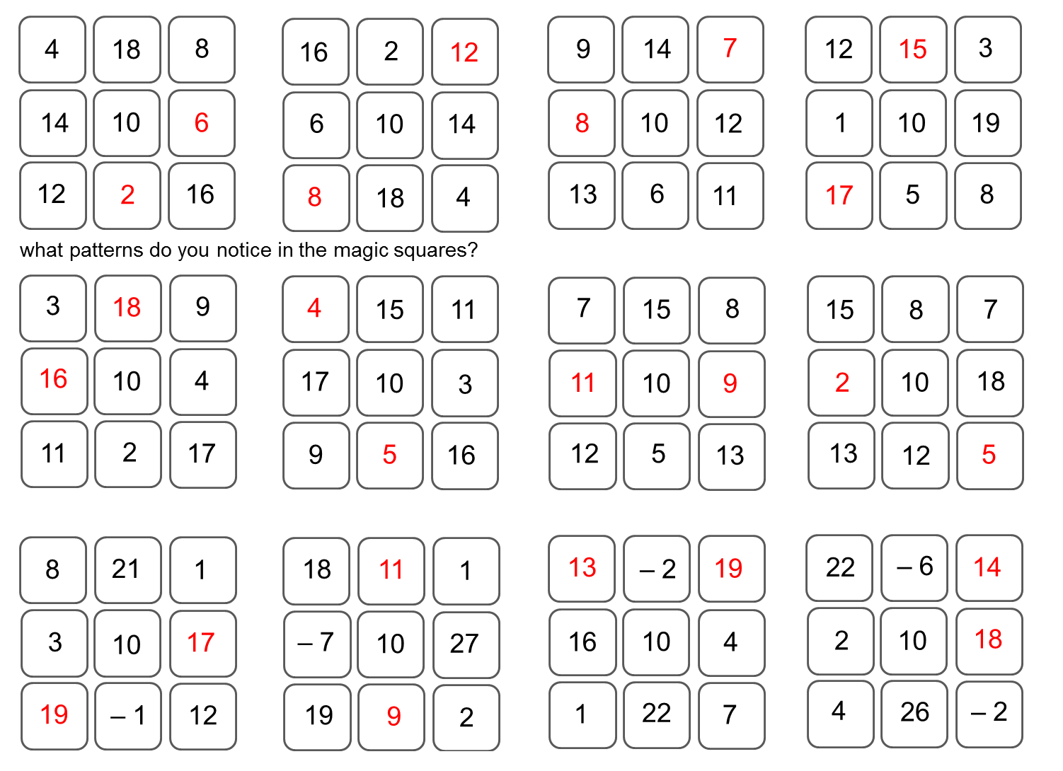 worksheet Number Patterns similiar number squares pattern keywords sort out what the central will be and find patterns