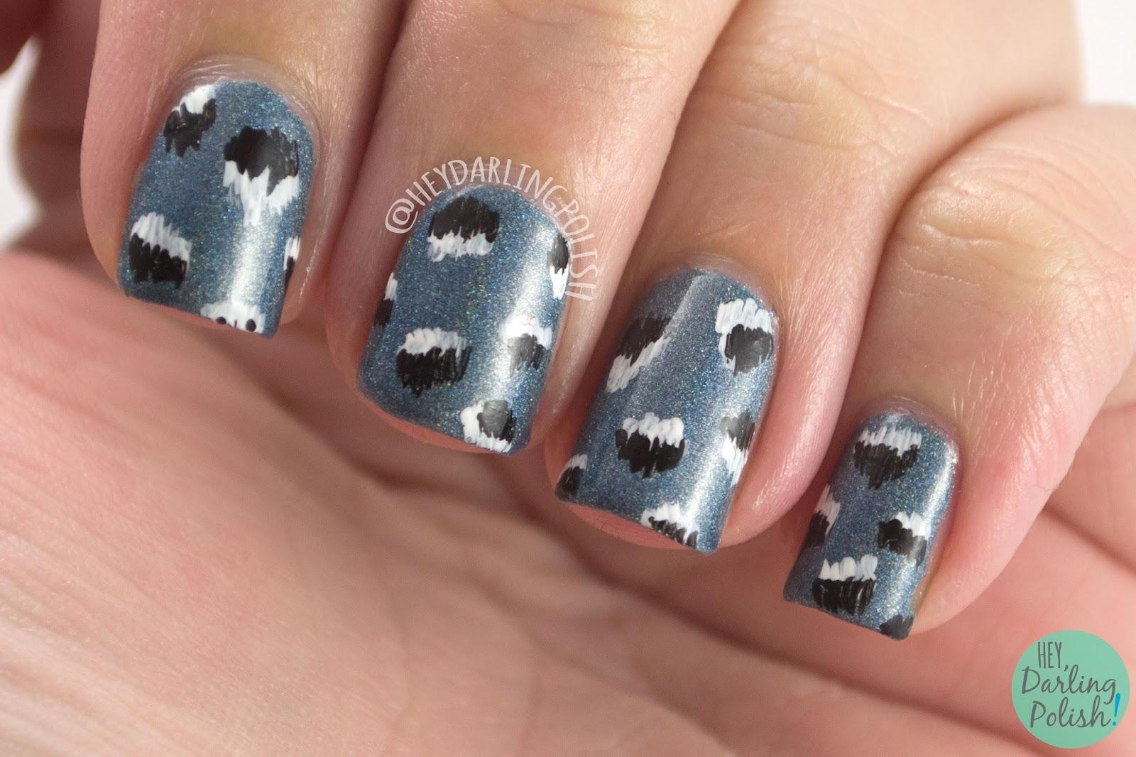 silver willow, blue, silver, holo, pattern, nails, nail art, nail polish, hey darling polish, black dahlia lacquer, indie polish