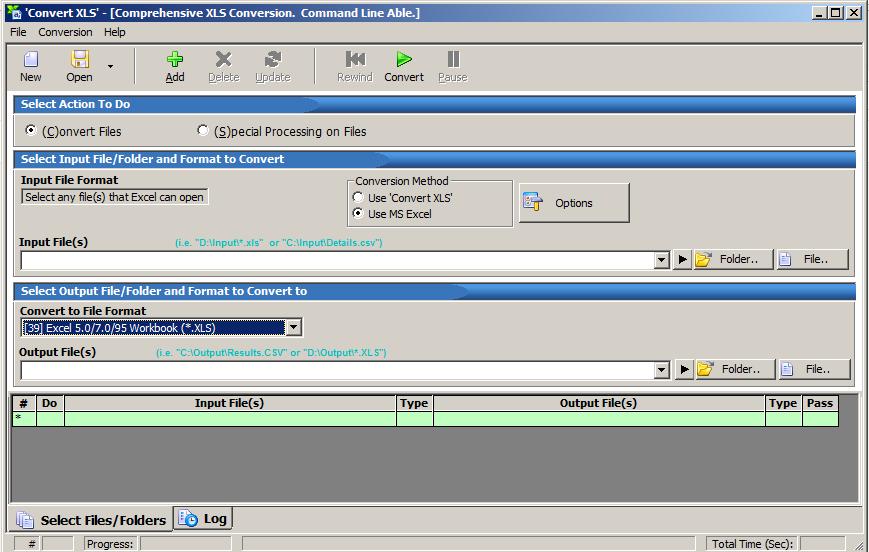 interface of convert xls software