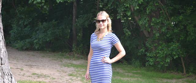 stripes, maxi, dress, slit, efoxcity, statement necklace, gold, brass, leafs, leaves, blue, grey, white, marshalls