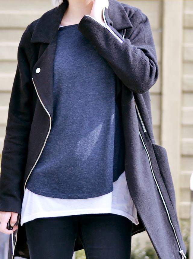 Overknee boots, asos, suede, chunky, black, primark top, sweater, asos, biker coat