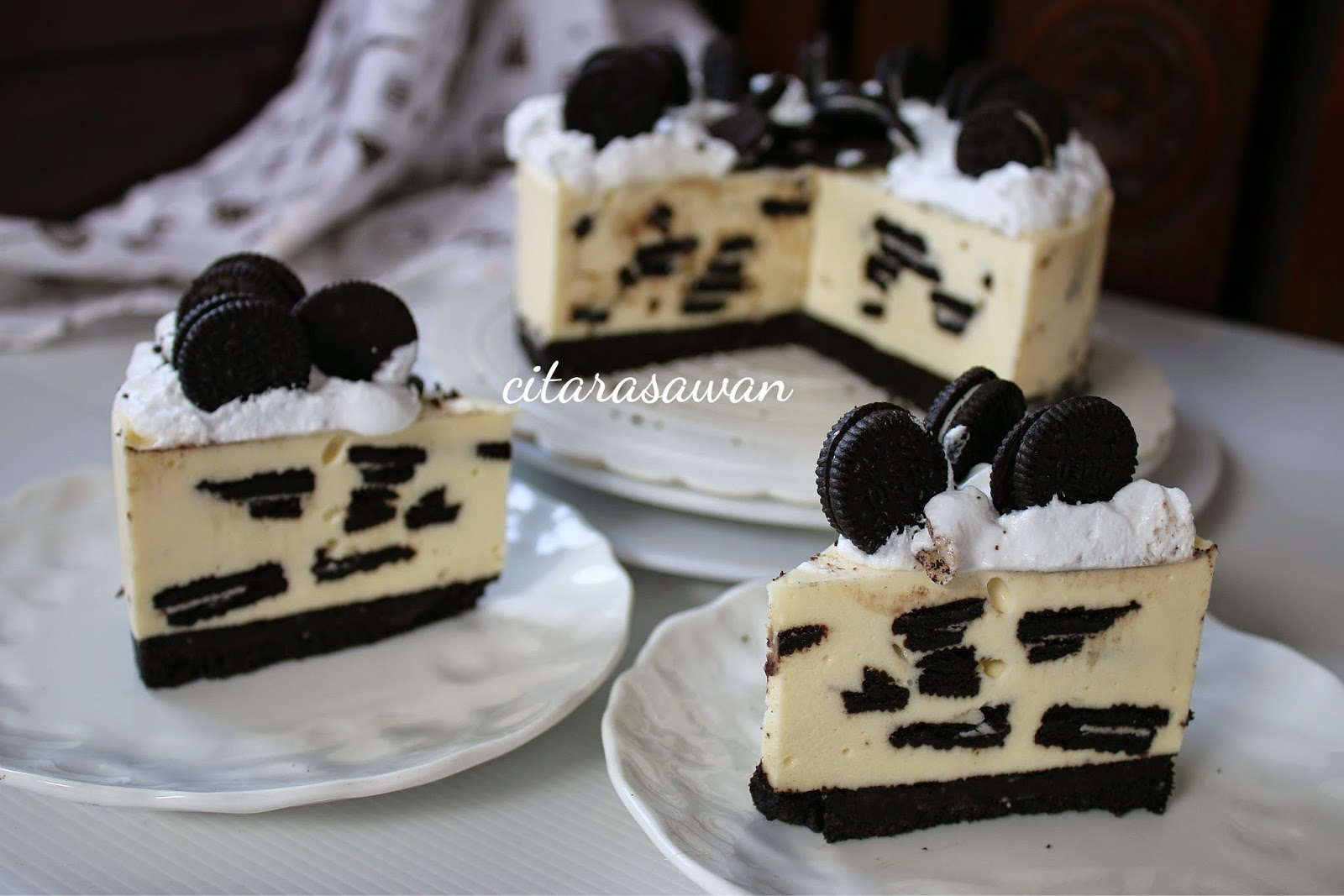 Kek Keju Oreo Dingin / No Bake Oreo Cheesecake, hadohai macam mana tak ...