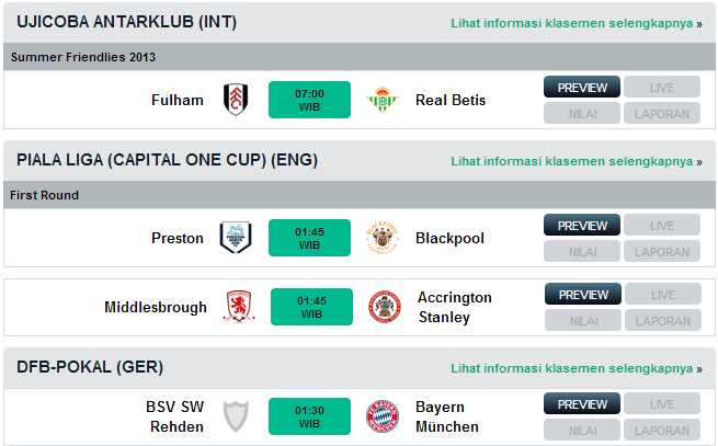 Jadwal Pertandingan Bola Selasa 6 Agustus 2013