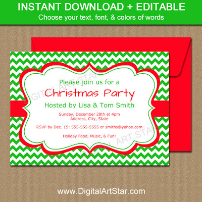 holiday party invitation template with editable text