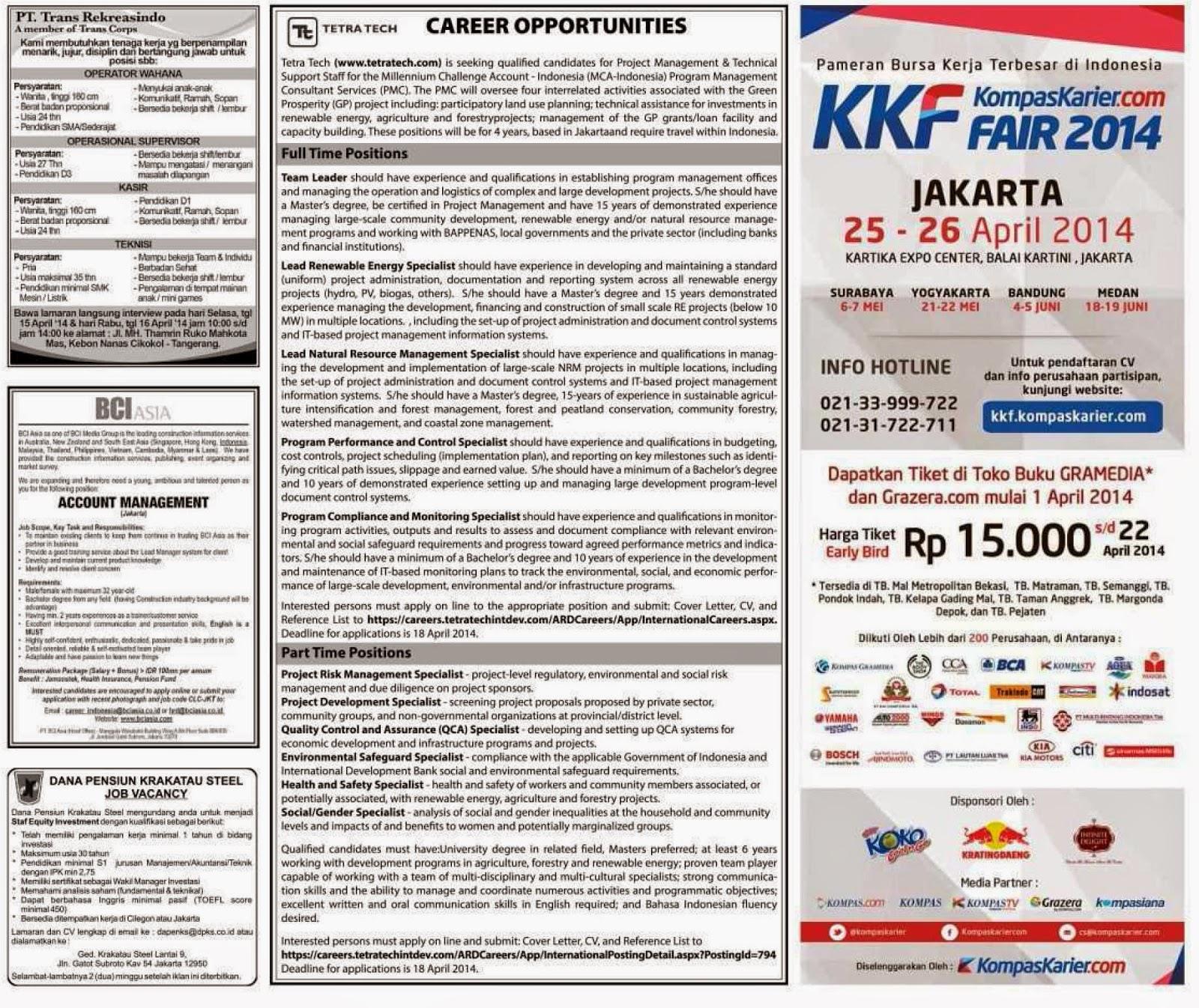 iklan Lowongan kerja koran kompas Sabtu 12 April 2014
