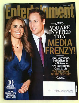 Cover of Entertainment Weekly with photo of Prince William and his fiancee Kate