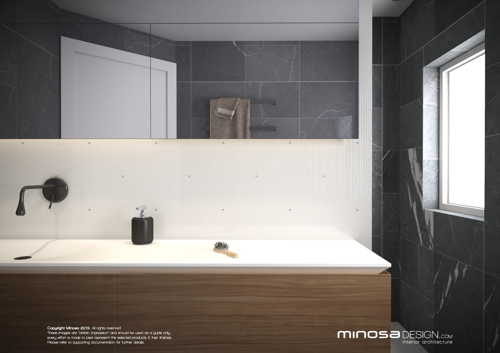 Minosa: Small modern bathroom to share