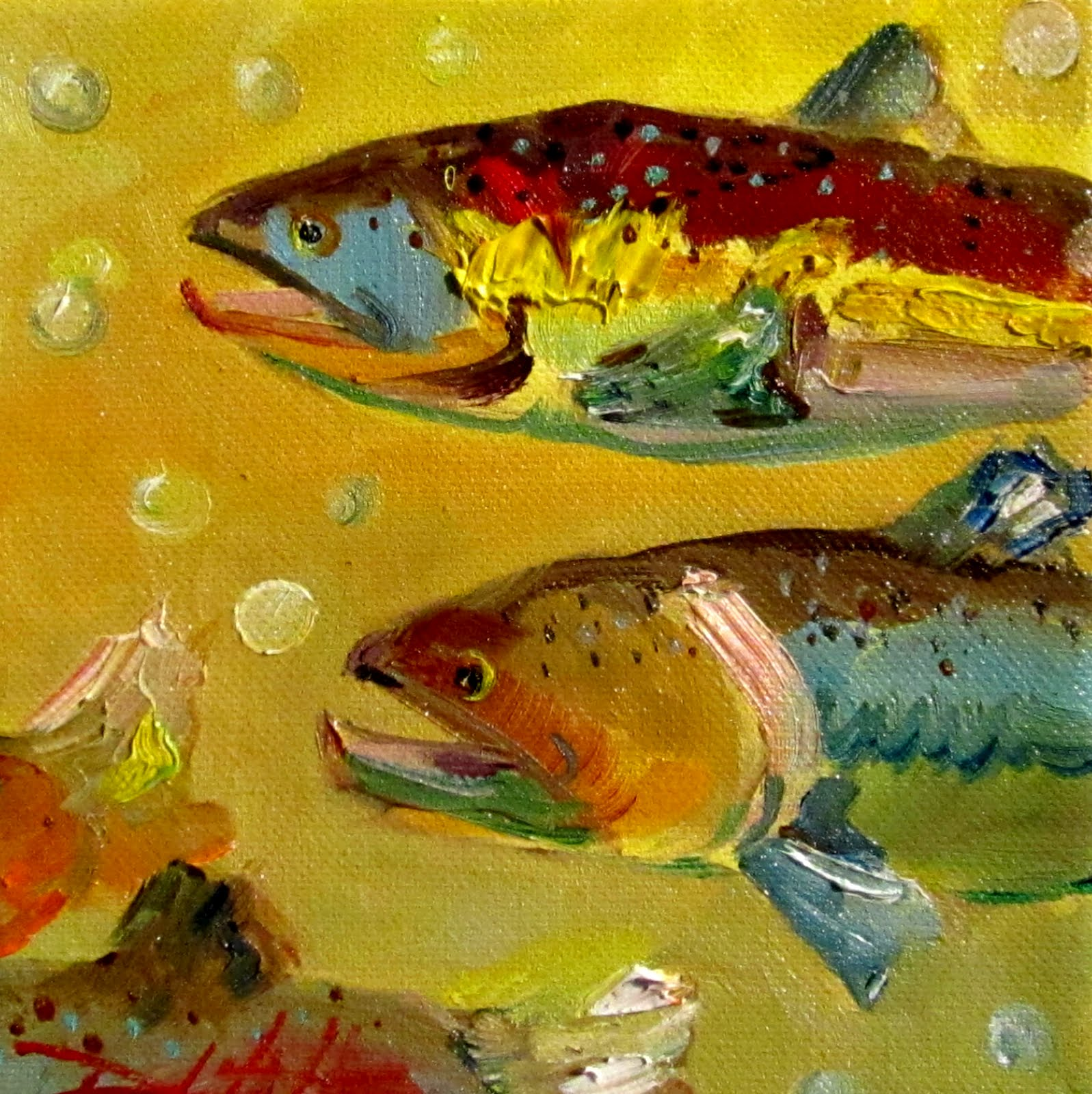 Painting of the day daily oil paintings by delilah fish for Fish paintings on canvas