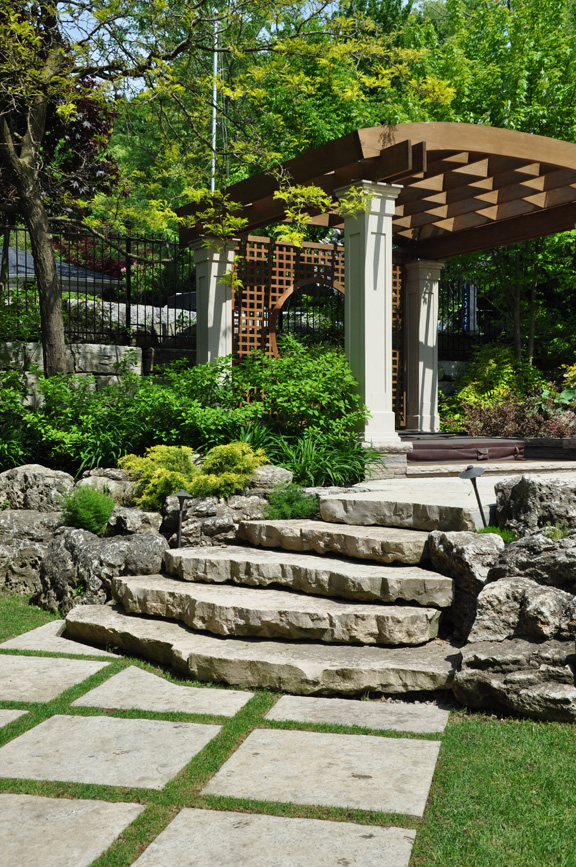 Landscaping Ideas For Uneven Yard : Three dogs in a garden ideas for gardens with an uneven terrain