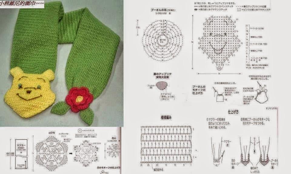 Bufanda de Winnie Pooh / patrones crochet | Crochet y Dos agujas ...
