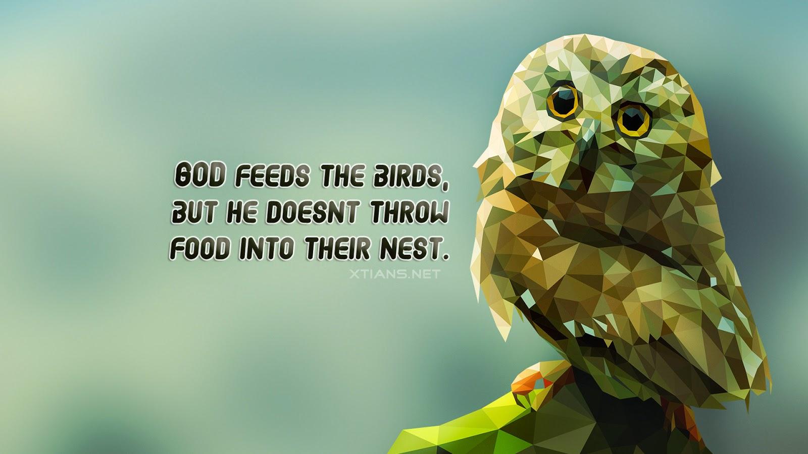 Wallpaper God feeds the birds