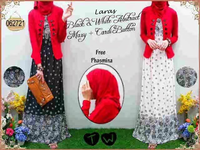 Laras Abstract Maxy - Maxi Dress Abstrak Hitam Putih