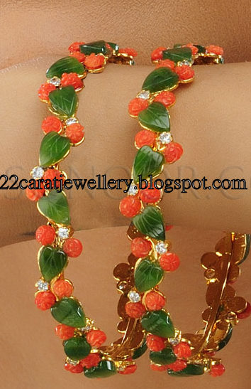 One Gram Gold Green jade and Coral Bangle Set Jewellery Designs