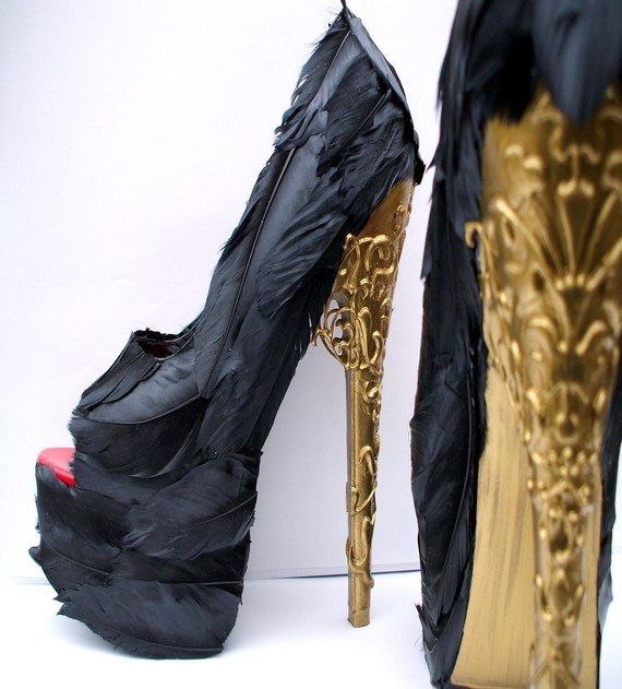 Feather Shoes with Brocade Gold for Alexander McQueen Foundation