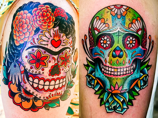 Tatuagens de caveira do dia dos mortos
