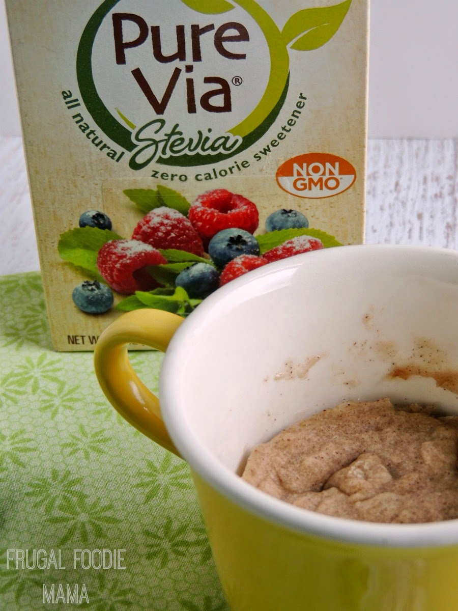 Guilt-Free Snickerdoodle Mug Cake via thefrugalfoodiemama.com- a comforting, low calorie, perfectly portioned for one microwave dessert! #PureViaSweet #PMedia #ad