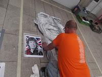 Kohle und Kreide Zeichnung von Mick Jagger beim