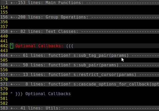 打開一個 section,看見所有 function(抱歉擷圖是舊程式,函數之間只空 1 行,應該空 2 行)