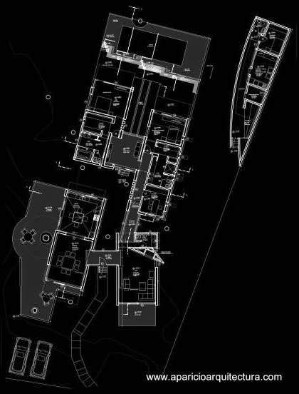 Plano de planta de la residencia en Santa Cruz