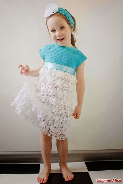 Vestido para niña tejido al crochet con patrones y paso a paso