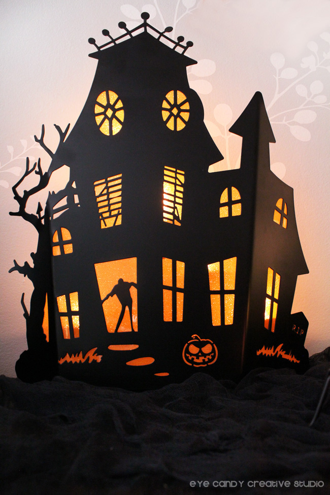 haunted house, yankee candle, tealight holder, halloween candle holder