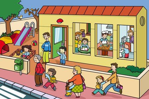 Dibujos de niños entrando a la escuela - Imagui