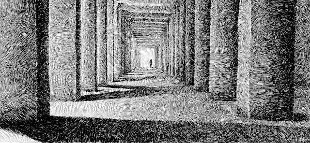 shadows, light, lumière, columns, colonnes